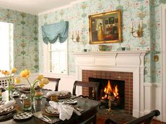 Wallpaper Ideas Dining Room With Fireplace Stove