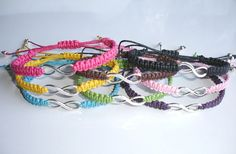 Eight Silver Plated Infinity Macrame Bracelets by LOVEwhatIdoDesigns on Etsy