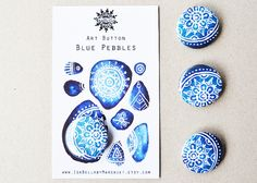 Art Button, Blue Pebbles, Pinback Button,  pinned to a display card, Badge, Pin, Plastic Brooche | IsabellabyMargriet