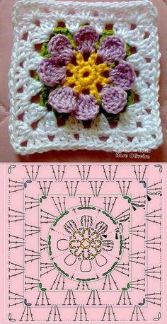 고마움을 찾아보는 그런하루 : 네이버 블로그 Crochet Flower Squares, Flower Granny Square, Crochet Motifs, Granny Square Crochet Pattern, Crochet Blocks, Crochet Diagram, Crochet Chart, Love Crochet, Crochet Granny