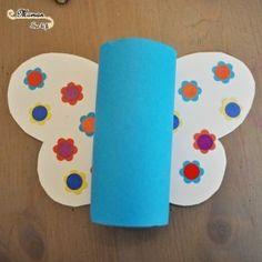 Bricolage Enfants - Activité Créative Manuelle - Réaliser de jolis papillons à base de rouleau de papier toilette de PQ - fait maison - diy printemps Fleurs - découpage collage agrafeuse - maternelle et primaire gommettes - - récup récupération - issu du blog Maman Sur Le Fil
