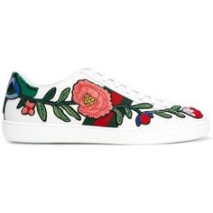 Gucci Ace embroidered low top sneakers (775 CAD) ❤ liked on Polyvore featuring shoes, sneakers, white, leather sneakers, lace up flat shoes, low profile sneakers, white flat shoes and white lace up sneakers
