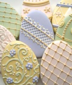 Beautiful Easter egg cookies by Clough'D 9 Cookies.