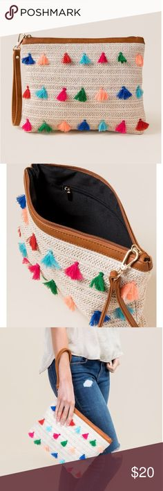 """Straw and tassel wristlet clutch NWT from Francesca's. - 9"""" x 11.5"""" - Natural straw exterior - Colorful tassel details - Faux leather, removable wristlet - 1 zippered interior pocket - Imported Francesca's Collections Bags Clutches & Wristlets"""