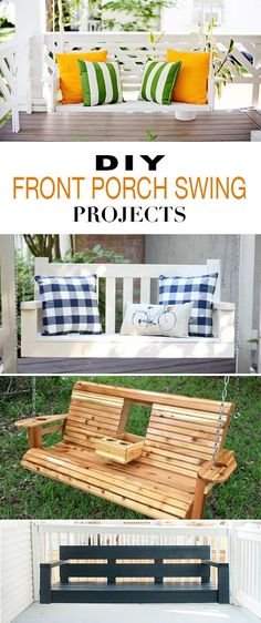 DIY Front Porch Swing Projects • Easy to follow tutorials on how to build a front porch swing! #DIY #projects #tutorials #frontporch #swings #summer #ideas #TheBudgetDecorator