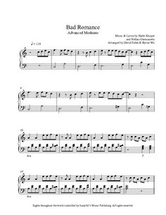 Bad Romance by Lady Gaga Piano Sheet Music | Advanced Level