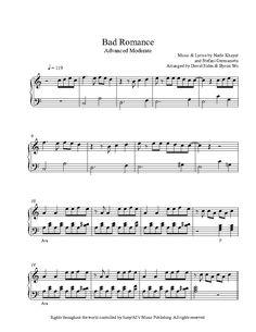 Bad Romance by Lady Gaga Piano Sheet Music | Advanced Level