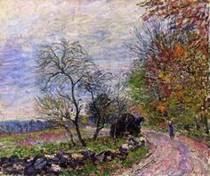 """Along the woods in Autumn"" -- 1885 -- Alfred Sisley -- French -- Oil on canvas -- Private collection."