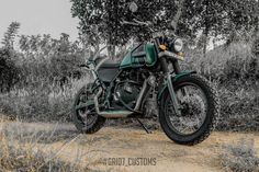 Modified Royal Enfield Himalayan features new performance exhaust system, runs on different set of tyres and adorns a military green pain job Himalayan Royal Enfield, Royal Enfield Modified, Enfield Motorcycle, Forest Green Color, Green Color Schemes, Green Bodies, Performance Exhaust, Mode Of Transport, Exhausted