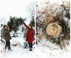 Cutting down a Christmas tree in the snow - couple's photo shoot