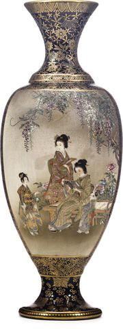 A Satsuma vase By the Kinkozan studio, Meiji period (late 19th century) Japanese Vase, Japanese Porcelain, Japanese Ceramics, Japanese Pottery, White Porcelain, Asian Quilts, Asian Artwork, Asian Vases, Satsuma Vase