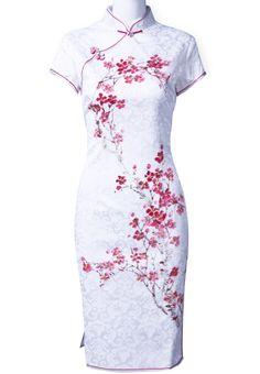 White Plum Flower Print Asian Dress