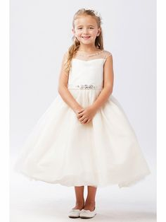 09a5ba890 Tip Top Kids 5712 Ivory Illusion Neckline Dress w/ Rhinestone Belt.  Illusion Neckline DressIvory Flower Girl ...