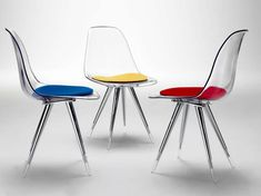 Sedie trasparenti di design - Sedie con cuscini colorati