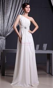 White Grecian One-Shoulder Chiffon Prom Dress, Long Chiffon Prom Dress