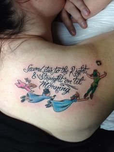Cute and colorful Peter Pan tattoo