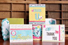 """Echo Park """"Here & Now"""" Thank You cards by Christine Ousley using paper and cutting files designed by Lori Whitlock."""