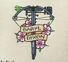 crossbow, twd, and walking+dead image Walking Dead Drawings, Walking Dead Facts, Fear The Walking Dead, The Walking Dead Tattoos, Daryl Dixon, Cool Tattoos, Tatoos, The Walkind Dead, Grunge Tattoo