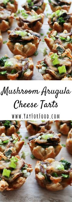 A delicious two-bite puff pastry tart filled with savoury crimini mushrooms, peppery arugula, and sharp Gouda cheese. A perfect appetizer for your next party!
