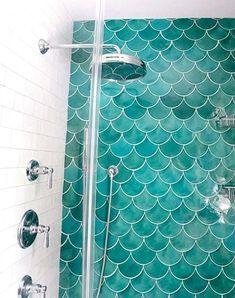 trendy Ideas for bathroom ideas teal tile - Modern Teal Bathroom Decor, Mermaid Bathroom Decor, Bathroom Colors, Bathroom Ideas, Bathroom Tiling, Pool Bathroom, Ikea Bathroom, Downstairs Bathroom, Bathroom Inspo