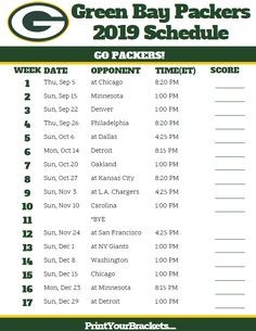 image about Packers Printable Schedule named 163 Least complicated Printable NFL Schedules photographs inside 2019 Printable