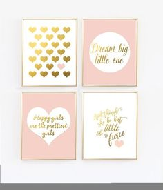 Mint and Gold Nursery Prints - Set of 4 Mint green and gold baby girl nursery. Finish off your little girl's nursery with this set of four wall prints. - And though she be but little, she is fierce by Shakespeare - Heart in gold - Dream Big Gold Nursery Decor, Mint Nursery, Nursery Prints, Nursery Room, Nursery Wall Art, Wall Prints, Blush Nursery, Baby Room, Nursery Modern