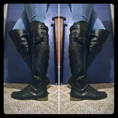 🔥SALE!!🔥Over the knee leather boots 🔥BUNDLE 6 ITEMS AND GET A DISCOUNT!!!🔥  Leather boots, very comfortable, have been treated for water proofing! I've stepped in huge puddles that go over the top of my foot and no water gets through! The only damage is some little pieces missing, not noticeable unless someone is up close. It's hard to let go of these but I hardly get to wear them Forever Shoes Over the Knee Boots
