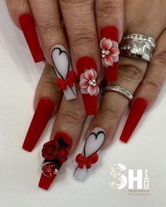 """TOM NGUYEN on Instagram: """"My favorite time of the year ❤️🌹🎀V-Day 😍😍.. Tag and share with anyone who could rock these V-Day nails 💞 Nail techs bring colors to your…"""" Acrylic Nail Designs, Acrylic Nails, Valentine Nail Art, Polygel Nails, Inspiration, Amazing Nails, Nailart, Rock, Instagram"""