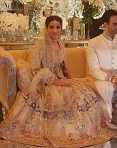 Maryam Salman looked beautiful in a very unusual and beautiful white bridal from The House of Kamiar Rokni ✨ Pakistani Bridal Dresses, Indian Bridal Wear, Asian Bridal, Pakistani Wedding Dresses, Bridal Lehenga, Indian Dresses, Bridal Lenghas, Walima, Desi Bride