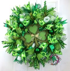 Deco Mesh St Patricks Day Wreath -St. Patrick's Day Decor -Shamrock Wreath - Green White Lime -Shamrock Door Wreath by SouthernCharmWreaths on Etsy
