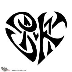 S+M+K heart. Union.  Khushbu requested this tribal heart tattoo where the letters S and K enclose a smaller M in the middle. These heart shaped tattoos symbolize the union shared by the people represented by the letters.  http://www.tattootribes.com/index.php?newlang=English&idinfo=7478