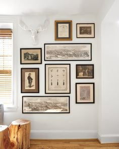 Monotone gallery wall with animal mount by Michelle Gage Inspiration Wall, Interior Design Inspiration, Room Decor, Wall Decor, Living Room Seating, Decoration, Home And Living, Picture Frames, Interior Decorating