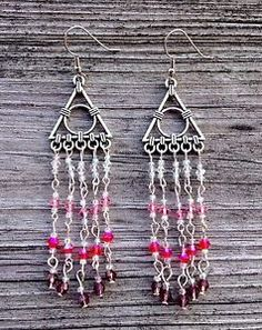 New Handmade Long Silver Amp Purple Pink Ombre Swarovski Crystal Boho Earrings | eBay