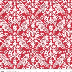 Riley Blake Designs - Hollywood - Medium Damask in White on Red