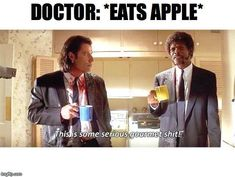 Let everybody know that you're eating something worthy of the gods with this eloquent quote straight from Pulp Fiction. Movie Quotes, Funny Quotes, Hilarious Memes, Film Pulp Fiction, Funny Images, Funny Pictures, Dankest Memes, Jokes, Reaction Face