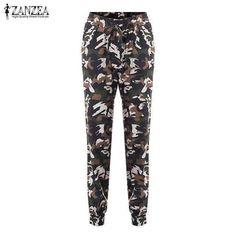 ZANZEA Fashion Autumn 2018 Women Pants Camouflage Printed Pants Trousers Military Elastic Waist Pants Plus Size S-3XL