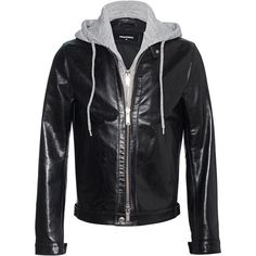 DSQUARED2 Sweater Detail Leather Black // Leather jacket in layering... ($2,575) ❤ liked on Polyvore featuring men's fashion, men's clothing, men's outerwear, men's jackets, mens leather jackets, mens zip jacket, mens slim fit jackets, mens slim leather jacket and mens zipper jacket