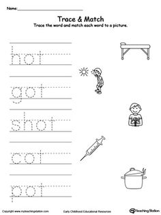 **FREE** OT Word Family Trace and Match Worksheet.Topics: Word Families, Reading, and Phonics. Alphabet Tracing Worksheets, First Grade Worksheets, Phonics Worksheets, Kindergarten Worksheets, Cvc Word Families, Kindergarten Anchor Charts, Family Worksheet, English Phonics, Phonics Reading
