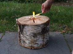 The Light 'n Go Bonfire Log is an all natural birch stump that is kiln dried, fitted with an internal wick, and engineered to light with just one match. The jumbo log can burn for more than two hours, while the standard log can burn for an hour and a half.