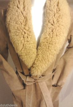 A & F Originals Sheepskin Suede Overcoat, Women's Size 10