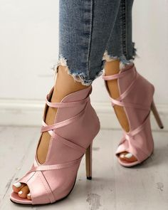 58 Pink Shoes That Make You Look Fabulous Shoes Women Pointed Toe Cut Out Med Heel Patchwork Ladies Shoes Pink Shoes, Hot Shoes, Crazy Shoes, Women's Shoes, Me Too Shoes, Shoe Boots, Dress Shoes, Ankle Boots, Blush Shoes
