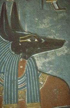 """Anubis, Ancient Egypt, c. 3000 BCE - Anubis is the Greek name for a jackal-headed god associated with mummification and the afterlife in ancient Egyptian religion. Anubis attends the weighing scale in the Afterlife during the """"Weighing Of The Heart"""" Ancient Egyptian Tombs, Ancient Egyptian Religion, Ancient Egypt Art, Egyptian Mythology, Egyptian Art, Ancient Artifacts, Ancient History, Egyptian Drawings, Egyptian Anubis"""