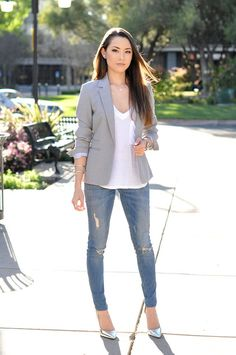Grey blazer with metallic heels