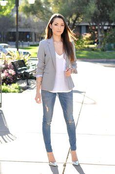 Grey blazer with metallic heels