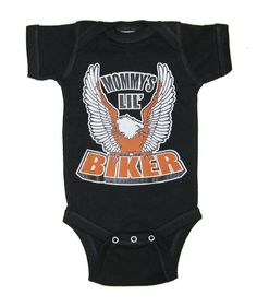 $5.99-$19.99 Baby Riverstone Goods Mommy's Little Biker Baby Infant Short Sleeve Bodysuit Creeper (Black, 6 Months) - Approximate sizing: Newborn (up to 12 pounds), 6 Months (12-18 pounds), 12 Months (18-25 pounds), 18 Months (25-30 pounds) http://www.amazon.com/dp/B004OT7FOC/?tag=pin2baby-20