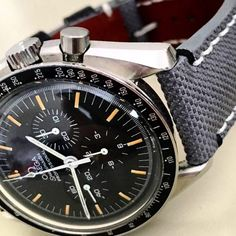 """341 Likes, 5 Comments - Combat Straps (@combat_straps) on Instagram: """"Grey Canvas With custom white and black stitching for Omega Speedmaster ! . . #vintagerolex…"""""""