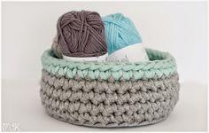 Trolley basket with round base - imaginary dream Crochet Bowl, Diy Crochet, Crochet Ideas, Cotton Cord, Crochet Storage, T Shirt Yarn, Merino Wool Blanket, Baby Knitting, Diy And Crafts