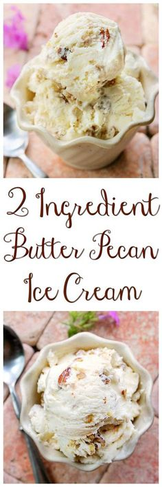 2 Ingredient Ice Cream without a Machine - Butter Pecan Smooth, creamy and rich describes this 2 Ingredient Ice Cream Recipe Ice Cream Treats, Ice Cream Desserts, Frozen Desserts, Ice Cream Recipes, Frozen Treats, Butter Pecan Ice Cream Recipe, 2 Ingredient Ice Cream, 2 Ingredient Desserts, Keto Eis