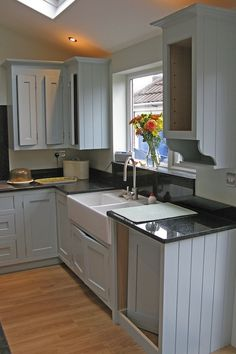 MDF and tulipwood kitchen finished oil eggshell Little Greene by Neil Callender Traditional Painter Dorset