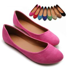 ollio Womens Ballet Flats Loafers Comforts Light Faux Suede Multi Colored Shoes | eBay $16.99